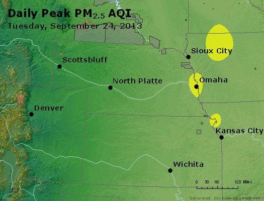 Peak Particles PM<sub>2.5</sub> (24-hour) - http://files.airnowtech.org/airnow/2013/20130924/peak_pm25_ne_ks.jpg