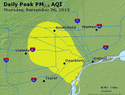 Peak Particles PM<sub>2.5</sub> (24-hour) - http://files.airnowtech.org/airnow/2013/20130926/peak_pm25_detroit_mi.jpg