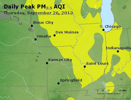 Peak Particles PM<sub>2.5</sub> (24-hour) - http://files.airnowtech.org/airnow/2013/20130926/peak_pm25_ia_il_mo.jpg