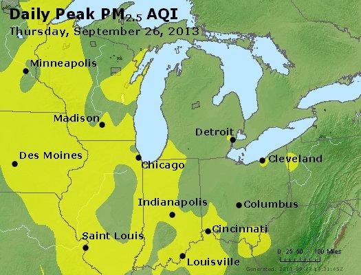 Peak Particles PM<sub>2.5</sub> (24-hour) - http://files.airnowtech.org/airnow/2013/20130926/peak_pm25_mi_in_oh.jpg