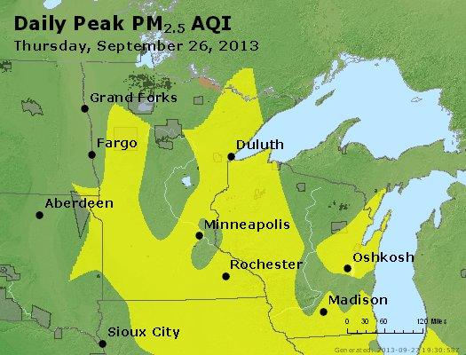 Peak Particles PM<sub>2.5</sub> (24-hour) - http://files.airnowtech.org/airnow/2013/20130926/peak_pm25_mn_wi.jpg