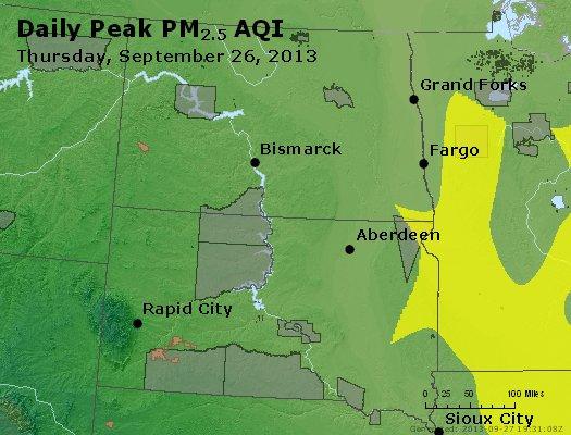 Peak Particles PM<sub>2.5</sub> (24-hour) - http://files.airnowtech.org/airnow/2013/20130926/peak_pm25_nd_sd.jpg