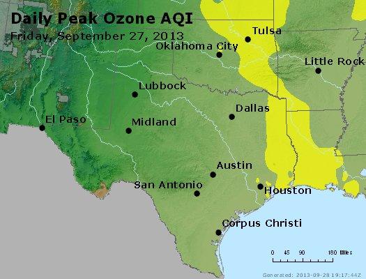 Peak Ozone (8-hour) - http://files.airnowtech.org/airnow/2013/20130927/peak_o3_tx_ok.jpg