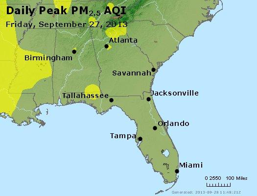 Peak Particles PM<sub>2.5</sub> (24-hour) - http://files.airnowtech.org/airnow/2013/20130927/peak_pm25_al_ga_fl.jpg