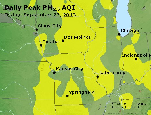 Peak Particles PM<sub>2.5</sub> (24-hour) - http://files.airnowtech.org/airnow/2013/20130927/peak_pm25_ia_il_mo.jpg