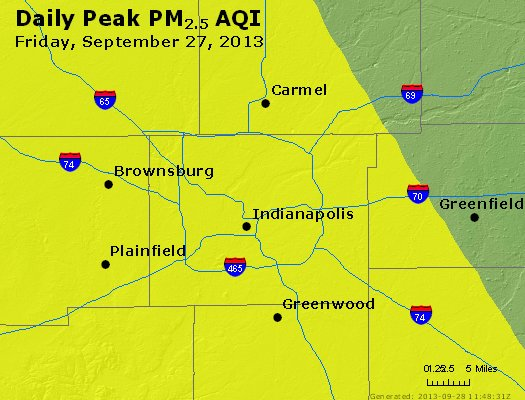 Peak Particles PM<sub>2.5</sub> (24-hour) - http://files.airnowtech.org/airnow/2013/20130927/peak_pm25_indianapolis_in.jpg
