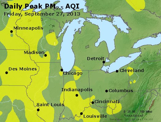 Peak Particles PM<sub>2.5</sub> (24-hour) - http://files.airnowtech.org/airnow/2013/20130927/peak_pm25_mi_in_oh.jpg