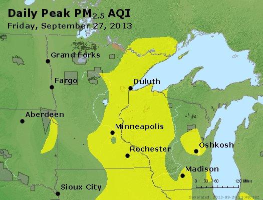 Peak Particles PM<sub>2.5</sub> (24-hour) - http://files.airnowtech.org/airnow/2013/20130927/peak_pm25_mn_wi.jpg