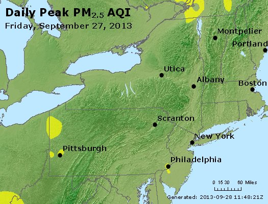 Peak Particles PM<sub>2.5</sub> (24-hour) - http://files.airnowtech.org/airnow/2013/20130927/peak_pm25_ny_pa_nj.jpg