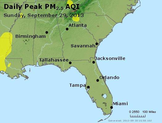 Peak Particles PM<sub>2.5</sub> (24-hour) - http://files.airnowtech.org/airnow/2013/20130929/peak_pm25_al_ga_fl.jpg