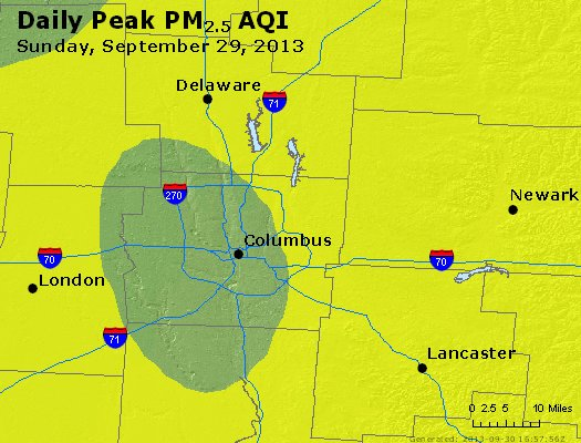 Peak Particles PM<sub>2.5</sub> (24-hour) - http://files.airnowtech.org/airnow/2013/20130929/peak_pm25_columbus_oh.jpg