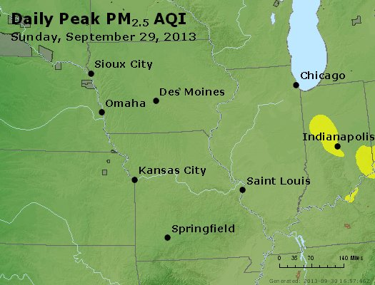 Peak Particles PM<sub>2.5</sub> (24-hour) - http://files.airnowtech.org/airnow/2013/20130929/peak_pm25_ia_il_mo.jpg