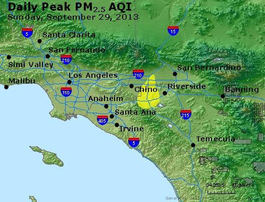 Peak Particles PM<sub>2.5</sub> (24-hour) - http://files.airnowtech.org/airnow/2013/20130929/peak_pm25_losangeles_ca.jpg
