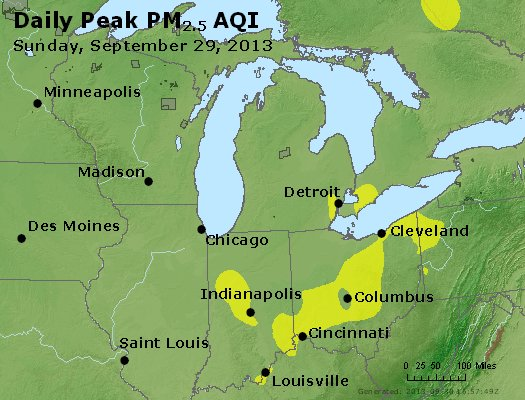 Peak Particles PM<sub>2.5</sub> (24-hour) - http://files.airnowtech.org/airnow/2013/20130929/peak_pm25_mi_in_oh.jpg