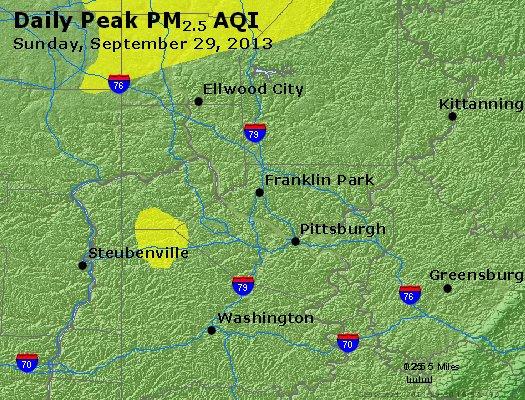 Peak Particles PM<sub>2.5</sub> (24-hour) - http://files.airnowtech.org/airnow/2013/20130929/peak_pm25_pittsburgh_pa.jpg