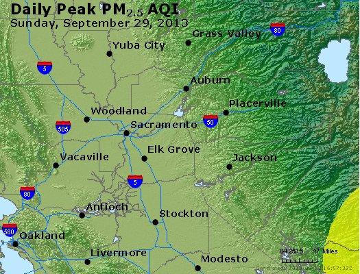 Peak Particles PM<sub>2.5</sub> (24-hour) - http://files.airnowtech.org/airnow/2013/20130929/peak_pm25_sacramento_ca.jpg