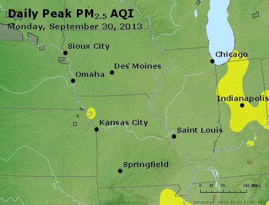 Peak Particles PM<sub>2.5</sub> (24-hour) - http://files.airnowtech.org/airnow/2013/20130930/peak_pm25_ia_il_mo.jpg