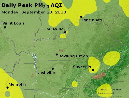 Peak Particles PM<sub>2.5</sub> (24-hour) - http://files.airnowtech.org/airnow/2013/20130930/peak_pm25_ky_tn.jpg