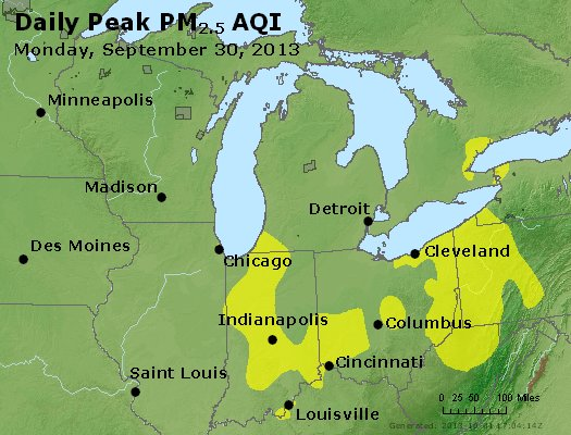 Peak Particles PM<sub>2.5</sub> (24-hour) - http://files.airnowtech.org/airnow/2013/20130930/peak_pm25_mi_in_oh.jpg