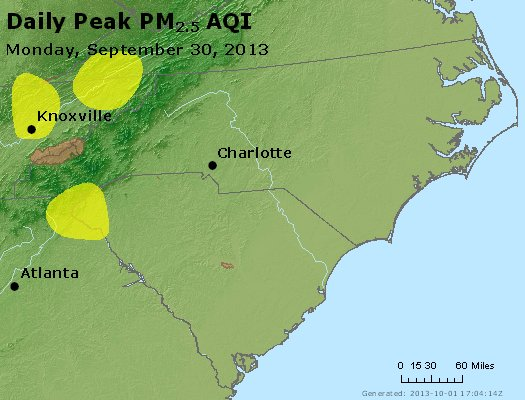 Peak Particles PM<sub>2.5</sub> (24-hour) - http://files.airnowtech.org/airnow/2013/20130930/peak_pm25_nc_sc.jpg