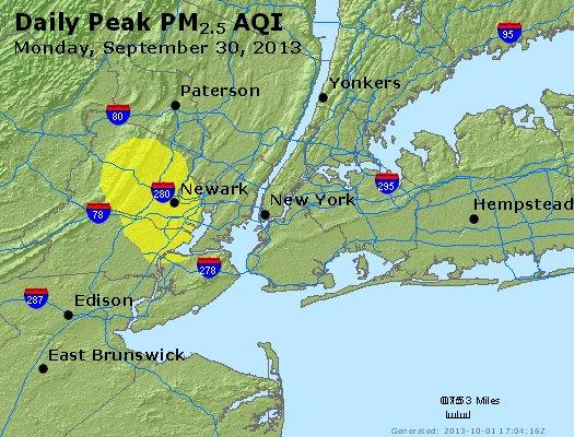 Peak Particles PM<sub>2.5</sub> (24-hour) - http://files.airnowtech.org/airnow/2013/20130930/peak_pm25_newyork_ny.jpg