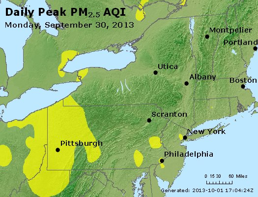 Peak Particles PM<sub>2.5</sub> (24-hour) - http://files.airnowtech.org/airnow/2013/20130930/peak_pm25_ny_pa_nj.jpg