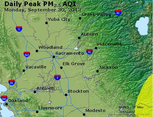 Peak Particles PM<sub>2.5</sub> (24-hour) - http://files.airnowtech.org/airnow/2013/20130930/peak_pm25_sacramento_ca.jpg