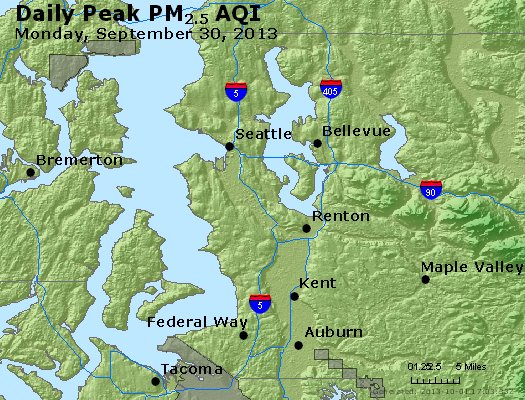 Peak Particles PM<sub>2.5</sub> (24-hour) - http://files.airnowtech.org/airnow/2013/20130930/peak_pm25_seattle_wa.jpg
