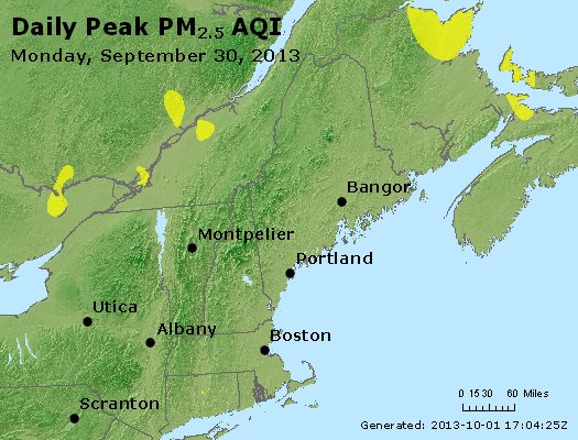 Peak Particles PM<sub>2.5</sub> (24-hour) - http://files.airnowtech.org/airnow/2013/20130930/peak_pm25_vt_nh_ma_ct_ri_me.jpg