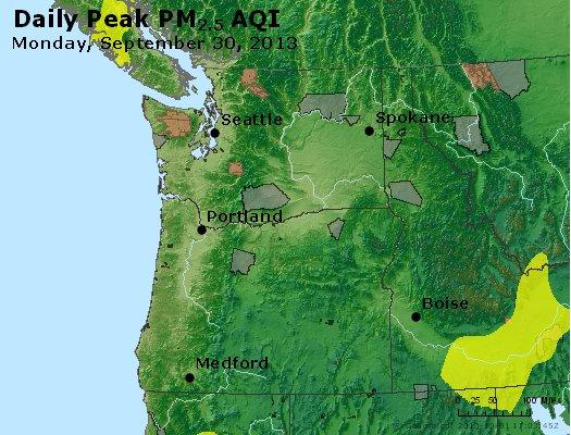 Peak Particles PM<sub>2.5</sub> (24-hour) - http://files.airnowtech.org/airnow/2013/20130930/peak_pm25_wa_or.jpg