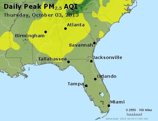 Peak Particles PM<sub>2.5</sub> (24-hour) - http://files.airnowtech.org/airnow/2013/20131003/peak_pm25_al_ga_fl.jpg