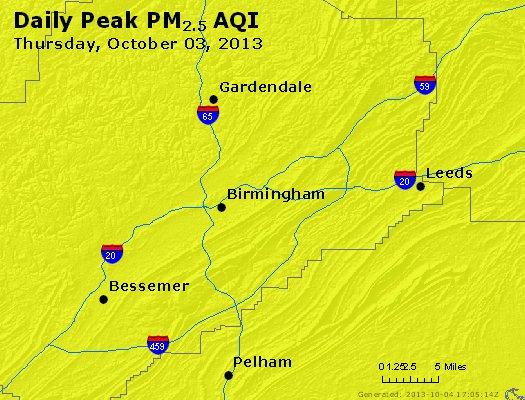 Peak Particles PM<sub>2.5</sub> (24-hour) - http://files.airnowtech.org/airnow/2013/20131003/peak_pm25_birmingham_al.jpg