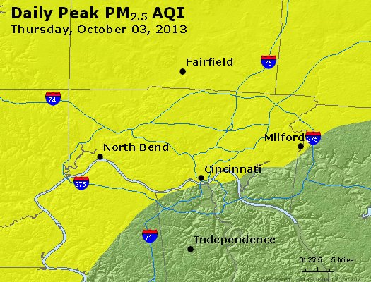 Peak Particles PM<sub>2.5</sub> (24-hour) - http://files.airnowtech.org/airnow/2013/20131003/peak_pm25_cincinnati_oh.jpg