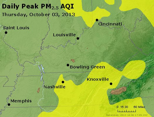 Peak Particles PM<sub>2.5</sub> (24-hour) - http://files.airnowtech.org/airnow/2013/20131003/peak_pm25_ky_tn.jpg