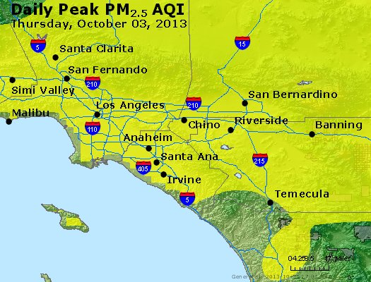 Peak Particles PM<sub>2.5</sub> (24-hour) - http://files.airnowtech.org/airnow/2013/20131003/peak_pm25_losangeles_ca.jpg