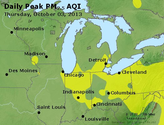 Peak Particles PM<sub>2.5</sub> (24-hour) - http://files.airnowtech.org/airnow/2013/20131003/peak_pm25_mi_in_oh.jpg