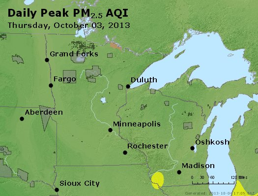 Peak Particles PM<sub>2.5</sub> (24-hour) - http://files.airnowtech.org/airnow/2013/20131003/peak_pm25_mn_wi.jpg