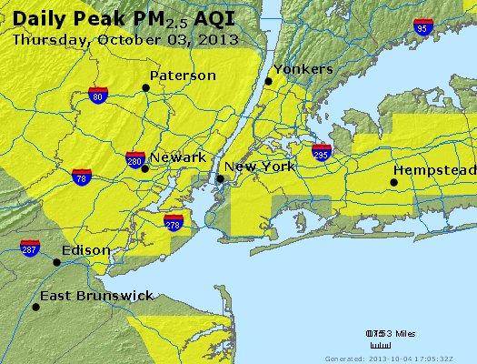 Peak Particles PM<sub>2.5</sub> (24-hour) - http://files.airnowtech.org/airnow/2013/20131003/peak_pm25_newyork_ny.jpg