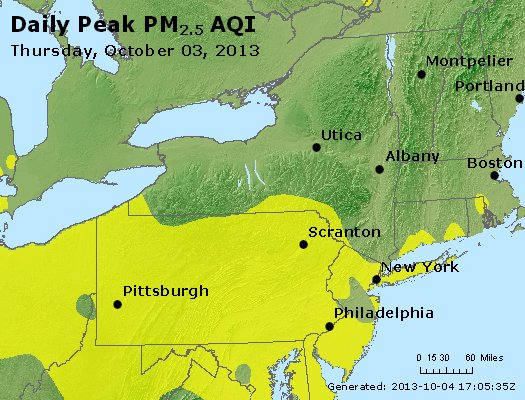 Peak Particles PM<sub>2.5</sub> (24-hour) - http://files.airnowtech.org/airnow/2013/20131003/peak_pm25_ny_pa_nj.jpg