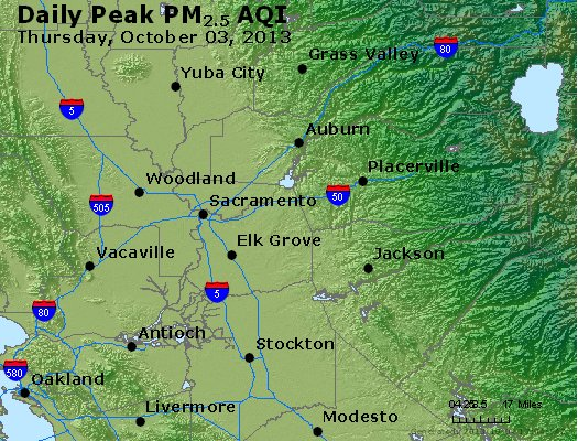 Peak Particles PM<sub>2.5</sub> (24-hour) - http://files.airnowtech.org/airnow/2013/20131003/peak_pm25_sacramento_ca.jpg