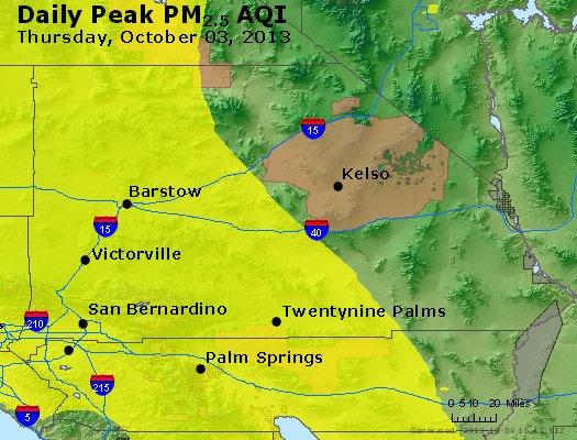 Peak Particles PM<sub>2.5</sub> (24-hour) - http://files.airnowtech.org/airnow/2013/20131003/peak_pm25_sanbernardino_ca.jpg
