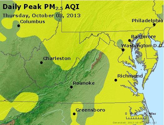 Peak Particles PM<sub>2.5</sub> (24-hour) - http://files.airnowtech.org/airnow/2013/20131003/peak_pm25_va_wv_md_de_dc.jpg