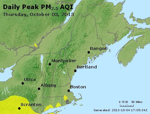 Peak Particles PM<sub>2.5</sub> (24-hour) - http://files.airnowtech.org/airnow/2013/20131003/peak_pm25_vt_nh_ma_ct_ri_me.jpg