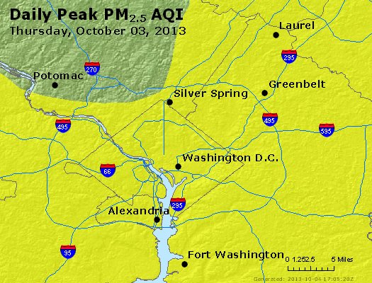 Peak Particles PM<sub>2.5</sub> (24-hour) - http://files.airnowtech.org/airnow/2013/20131003/peak_pm25_washington_dc.jpg
