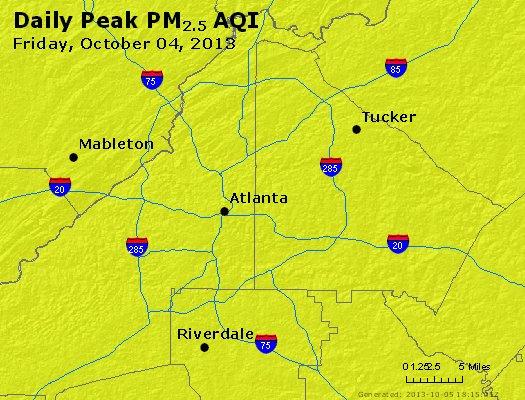 Peak Particles PM<sub>2.5</sub> (24-hour) - http://files.airnowtech.org/airnow/2013/20131004/peak_pm25_atlanta_ga.jpg