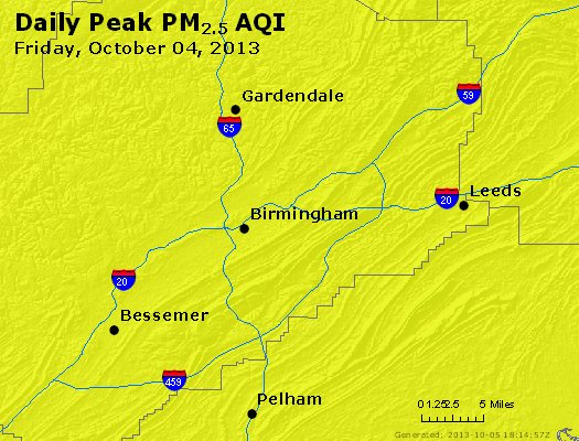 Peak Particles PM<sub>2.5</sub> (24-hour) - http://files.airnowtech.org/airnow/2013/20131004/peak_pm25_birmingham_al.jpg