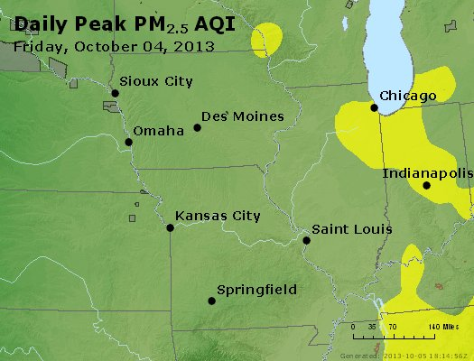 Peak Particles PM<sub>2.5</sub> (24-hour) - http://files.airnowtech.org/airnow/2013/20131004/peak_pm25_ia_il_mo.jpg