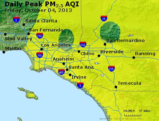 Peak Particles PM<sub>2.5</sub> (24-hour) - http://files.airnowtech.org/airnow/2013/20131004/peak_pm25_losangeles_ca.jpg