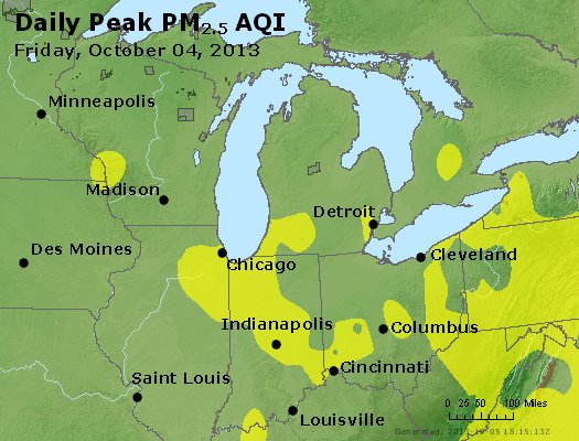 Peak Particles PM<sub>2.5</sub> (24-hour) - http://files.airnowtech.org/airnow/2013/20131004/peak_pm25_mi_in_oh.jpg