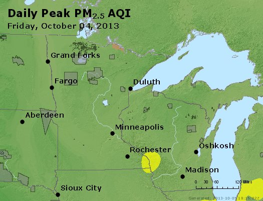 Peak Particles PM<sub>2.5</sub> (24-hour) - http://files.airnowtech.org/airnow/2013/20131004/peak_pm25_mn_wi.jpg